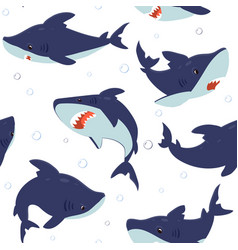shark pattern seamless texture with ocean fish vector image