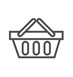 Shopping basket thin line icon vector