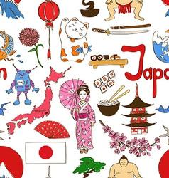 Sketch japan seamless pattern vector
