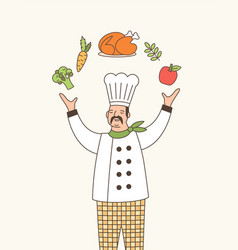 Skillful chef outline vector
