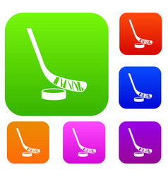 Stick and puck set collection vector