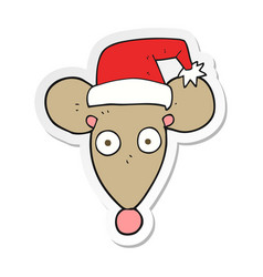 Sticker of a cartoon mouse in christmas hat vector