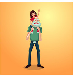 Strong grandfather with granddaughter on shoulders vector