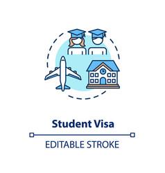 Student visa concept icon vector