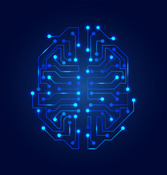 stylized brain circuit board texture electricity vector image