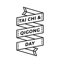 Tai Chi and Qigong day greeting emblem vector