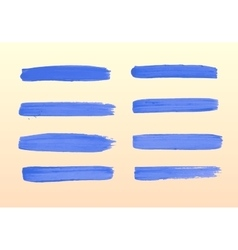The set of blue strokes of gouache vector