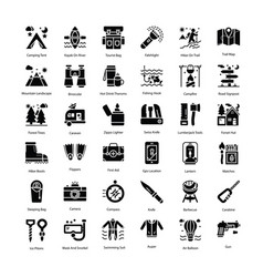 Tourism glyph icons pack vector