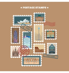 Travel Postage Stamps Famous Buildings vector image