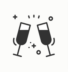 two glasses toast icon binge drink champagne vector image