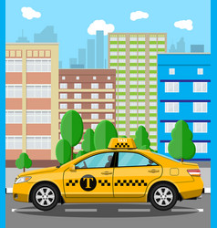 Urban cityscape with taxi cab vector