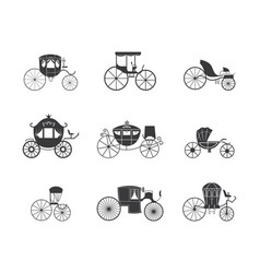 Vintage carriage and coach wagon icon set isolated vector