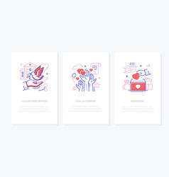 volunteering - line design style banners vector image