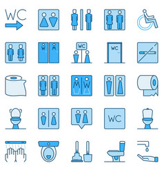 wc blue colored icons set - toilet concept vector image