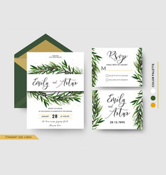 Wedding invitation save date rsvp invite card vector