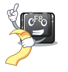 With menu f8 button installed on computer mascot vector