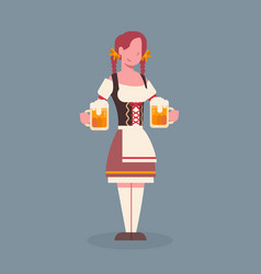 woman hold beer mug wearing traditional german vector image