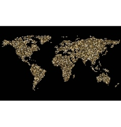 World abstract mosaic golden map on black vector
