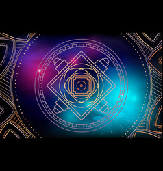 Yellow tibetan mandala on galaxy background vector