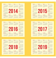 calendar grid for 2014 2015 2016 2017 2018 vector image vector image
