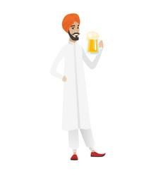 cheerful hindu farmer drinking beer vector image vector image