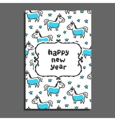Happy new year greeting card with unicorn and vector image