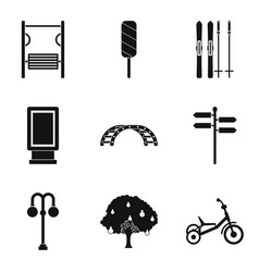 street gym icons set simple style vector image vector image
