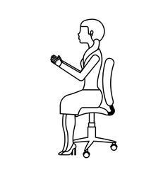Businesswoman avatar sitting on office chair vector