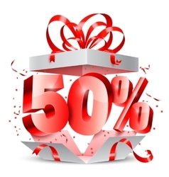 Fifty Percent Discount Gift vector image vector image
