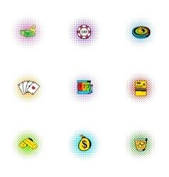 Gambling icons set pop-art style vector image vector image
