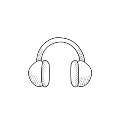 Headphone sketch icon vector image vector image