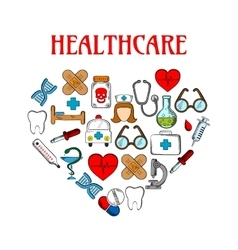 Medical equipment icons in form of heart vector image