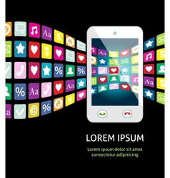 Smartphone with mobile apps vector image