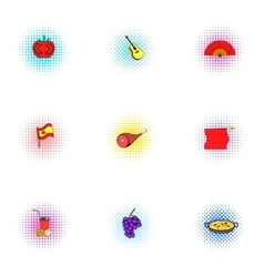 Spain icons set pop-art style vector image