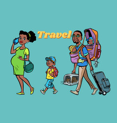 african family travelers mom dad and kids vector image vector image