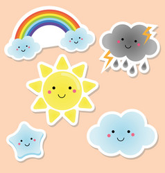 cute weather and sky elements kawaii sun rainbow vector image