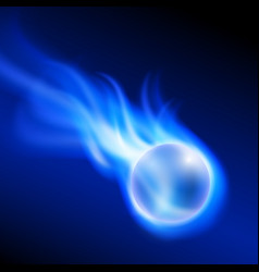 Flying burning ball on blue fire vector