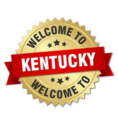 kentucky 3d gold badge with red ribbon vector image vector image