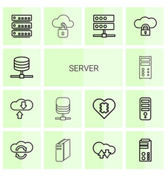14 server icons vector image