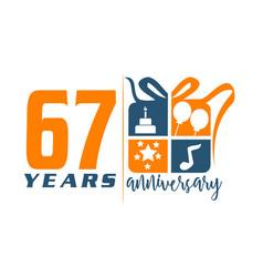 67 years gift box ribbon anniversary vector