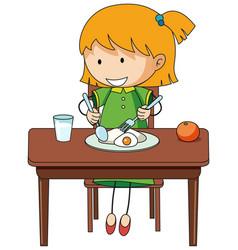 A girl having breakfast doodle cartoon character vector