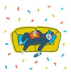 animal party lazy sloth party cute sloth lying vector image
