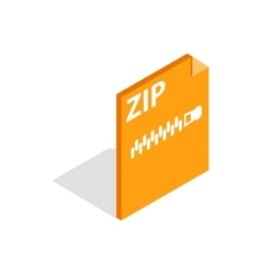 Archive ZIP format icon isometric 3d style vector