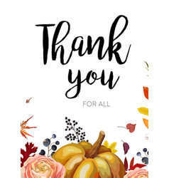 Autumn seasonal thank you greeting card design vector