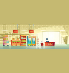 Background of empty supermarket shop vector