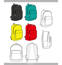 backpack fashion technical drawings templa vector image