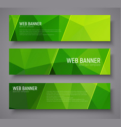 banner with green polygonal background vector image