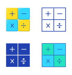 Basic math operations icon set in flat and line vector