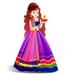Beautiful indian woman holding diya in hand vector