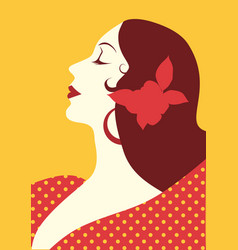 beautiful spanish woman with flower in her hair vector image